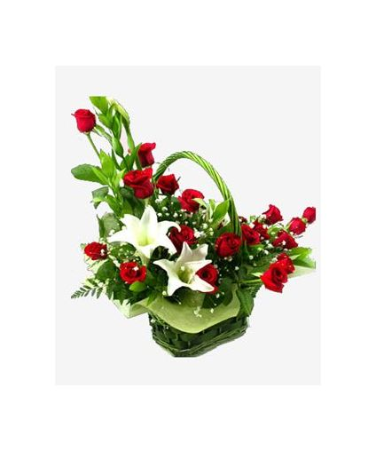 Lilies and roses in basket