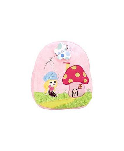 Mushroom House Embroider Soft Toy Bag Light Pink