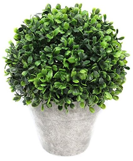 Green Plastic Eucalyptus Topiary Ball Plant