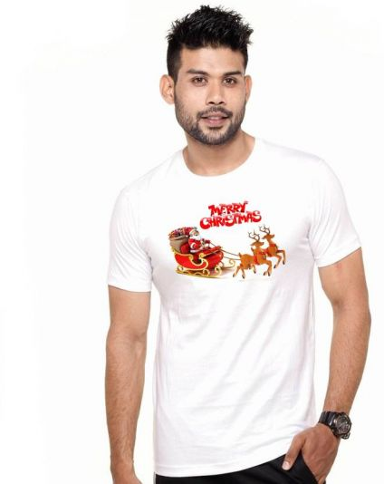 Wild Thunder Printed Men's White T-Shirt