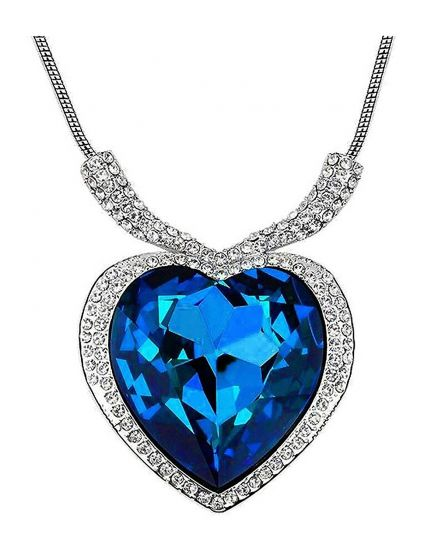Pendant 18k Rhodium Plated Antique in Titanic Heart Shape
