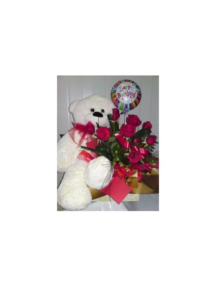 Large Teddy with 12 Red Roses and 6 pcs Balloons