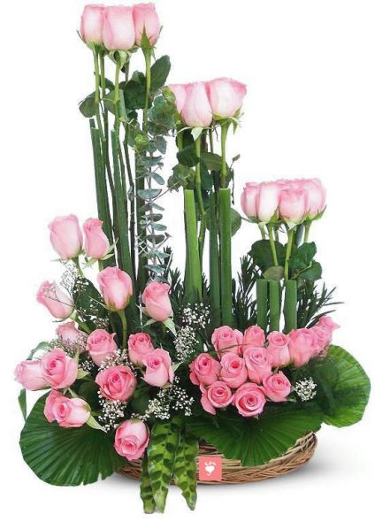 Lovely 30 Pink Roses with Basket