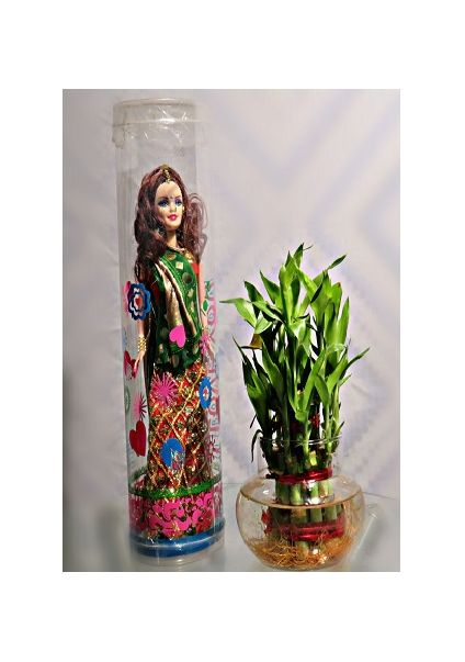 Lucky bamboo with doll