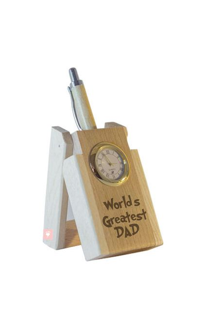 World's Greatest Dad Pen with Stand and Clock