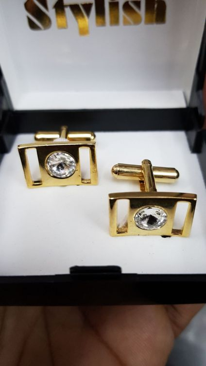 Studded Square Golden Cufflinks